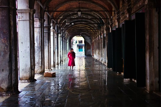 red-dressed girl in Venice