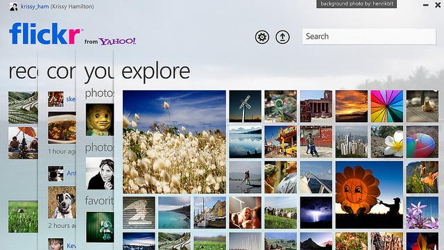 Aperçu de l'application Flickr pour Windows 7