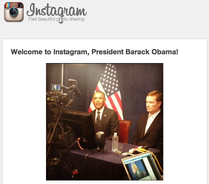 Instagram welcomes Obama