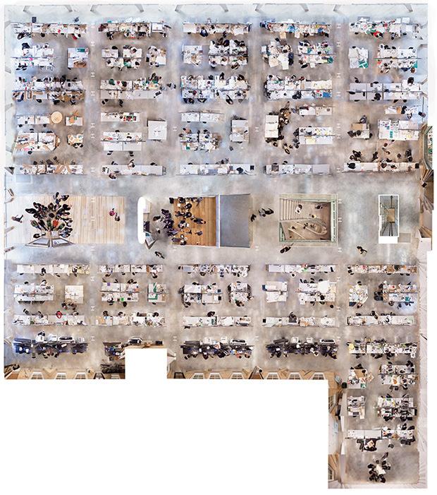 La vue aérienne de la salle