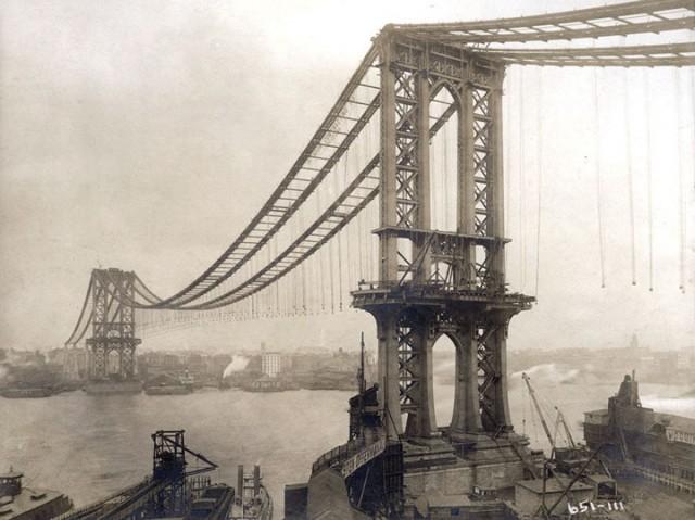 Manhattan Bridge lors de sa construction