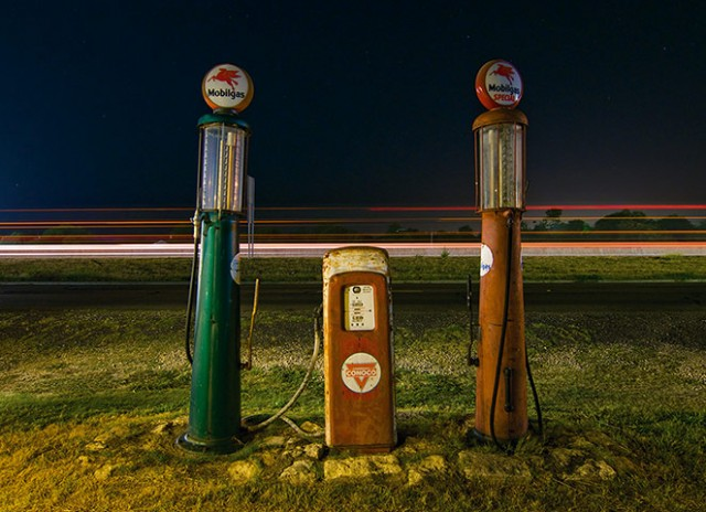 Vintage gas pumps in Salado, Texas. July 2009