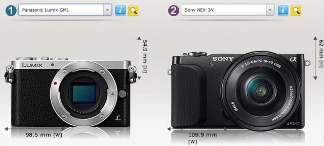 Panasonic_Lumix_GM1_vs_Sony_NEX-3N_Camera_Size_Comparison