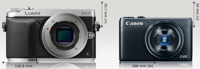 Panasonic_Lumix_DMC-GX7_vs_Canon_PowerShot_S120_Camera_Size_Comparison