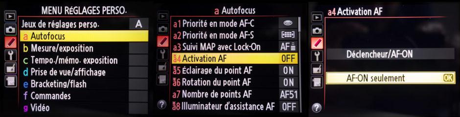 Réglages AF-ON-Nikon