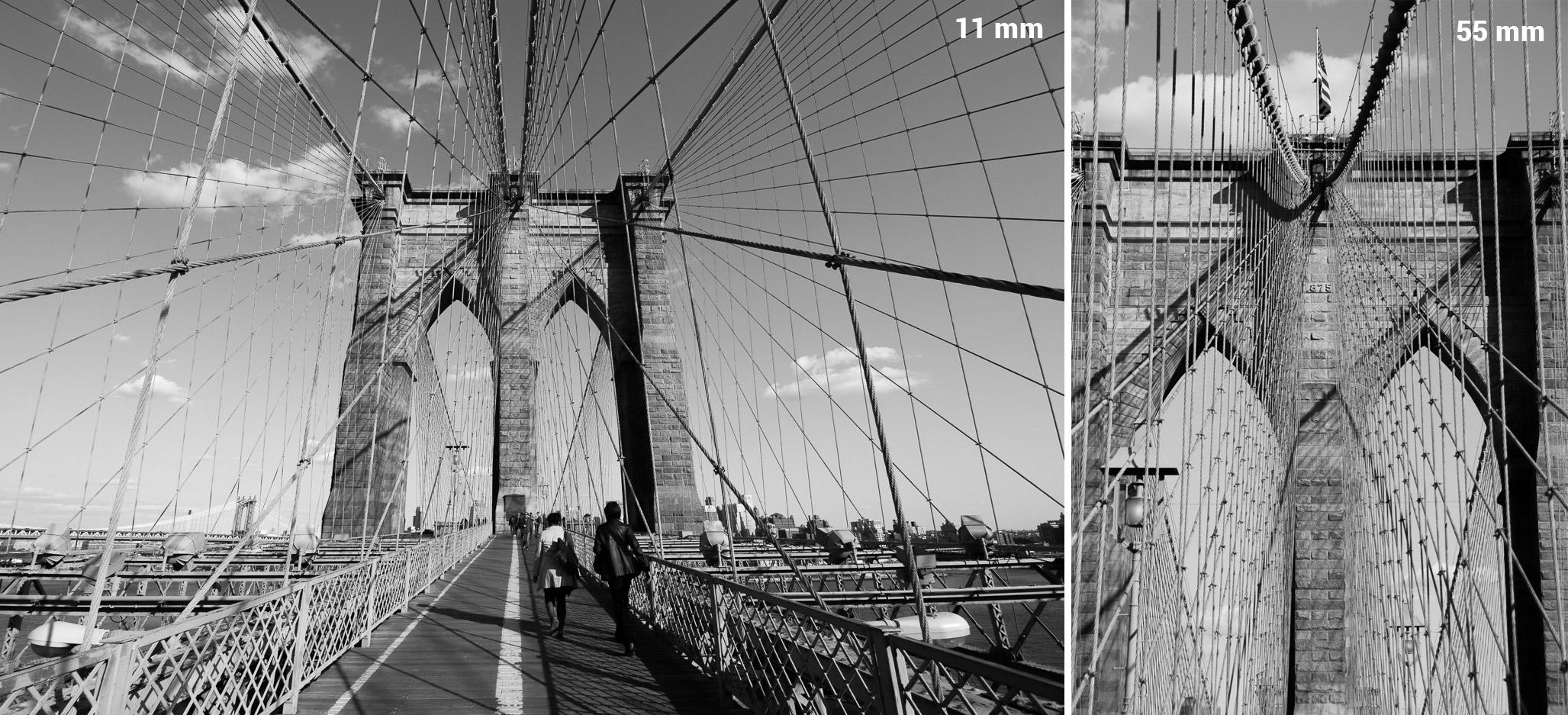 Comparaison entre une focale 11mm et une focale 55mm (format APS-C)