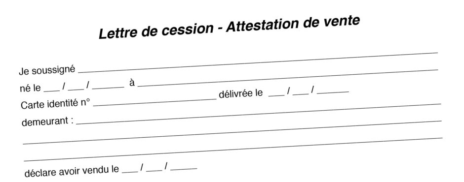 Lettre de cession - Attestation de vente