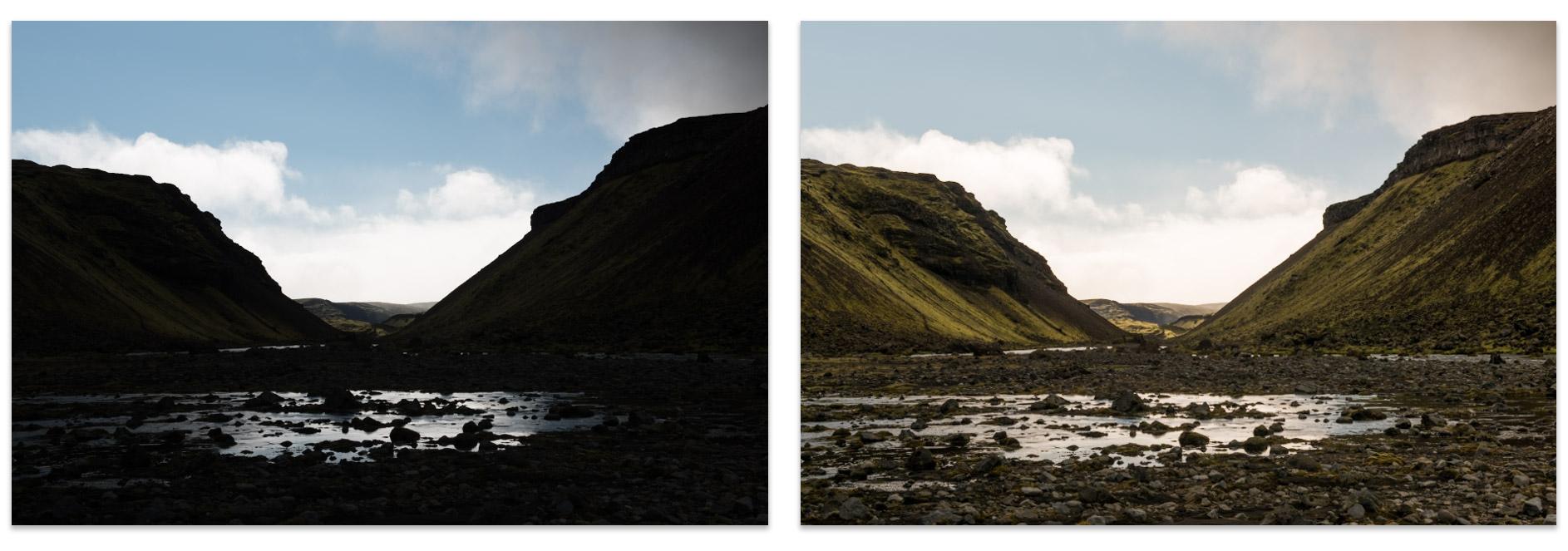 Image sous exposée à gauche / Image retravaillée sous Lightroom à droite