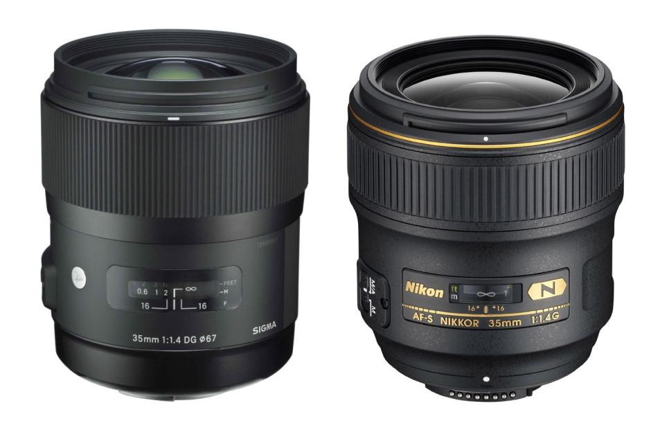 à gauche, le 35 mm f/1.4 de Sigma / à droite, le 35 mm f/1.4 de Nikon