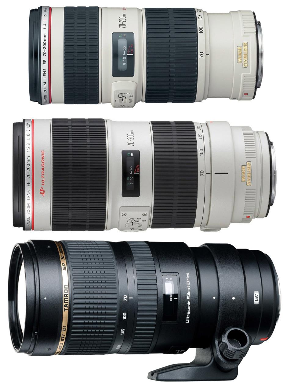 De haut en bas : Canon 70-200 mm f/4, Canon 70-200 f/2.8 et Tamron 70-200 f/2.8
