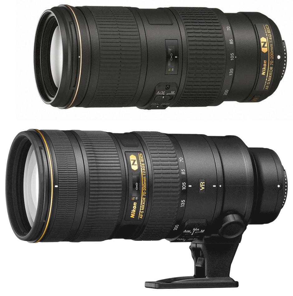 Les deux 70-200 mm de Nikon. En haut, le f/4 et en bas le f/2.8