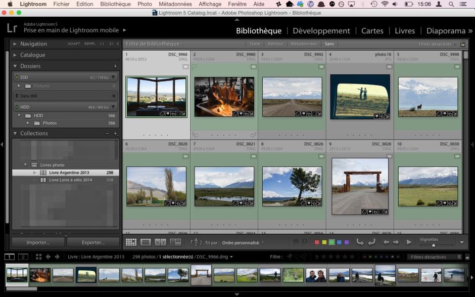 Sélection des images à intégrer dans la collection