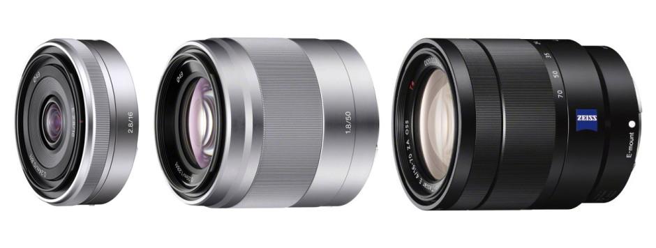 De gauche à droite, les objectifs Sony E : 16mm f/2.8, 50mm f/1.8 et 16-70mm f/4