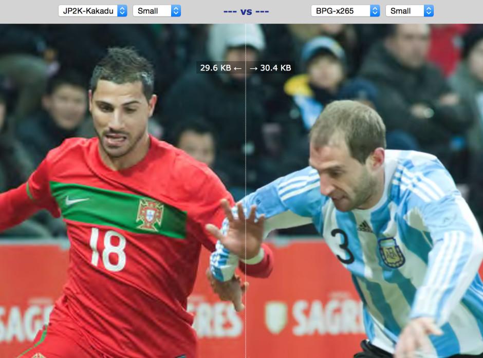 JPEG à gauche, BPG à droite