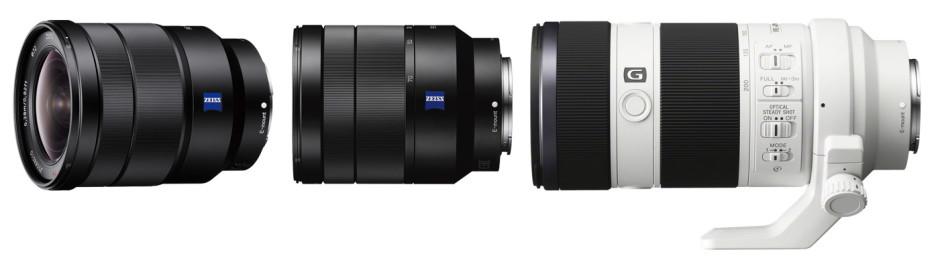 De gauche à droite : Sony 16-35mm f/4