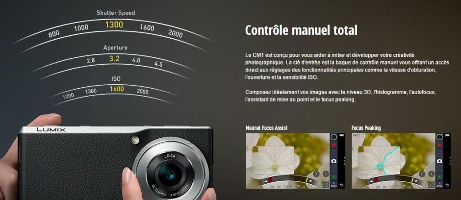 Panasonic vante sur son site ces possibilités de réglages manuels