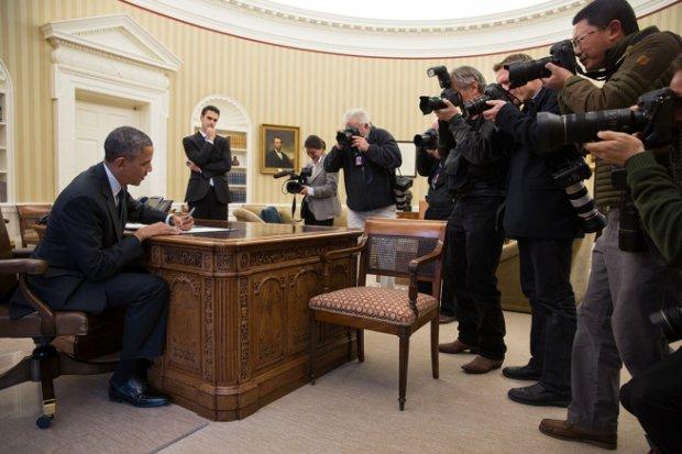"""La """"photo du jour"""" de Pete Souza, au lendemain de la lettre de protestation des journalistes (The White House / Pete Souza)"""