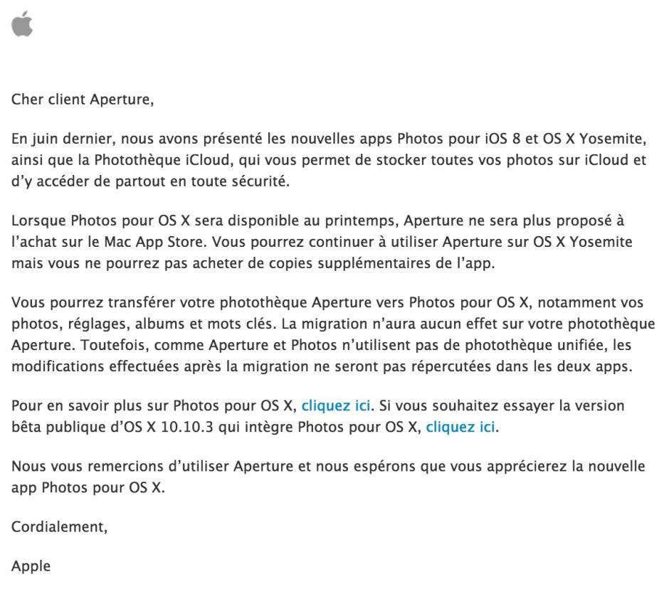 Communication reçue de la part d'Apple