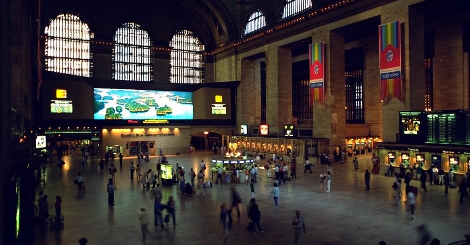 La Gare centrale de New York avec un Colorama au fond. Janvier 1968