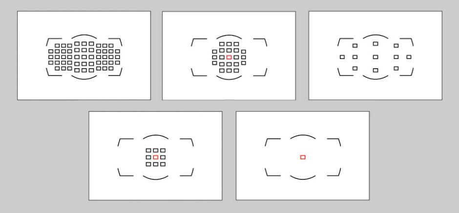 Le D4 propose 5 modes permettant de choisir entre 51, 21, 11, 9 ou 1 point AF