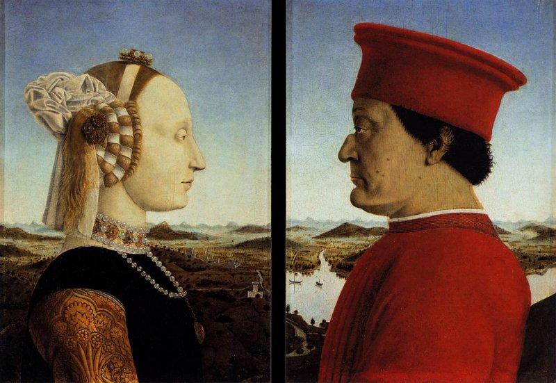 Battista Sforza et Féderico da Montefeltro de Piero della Francesca
