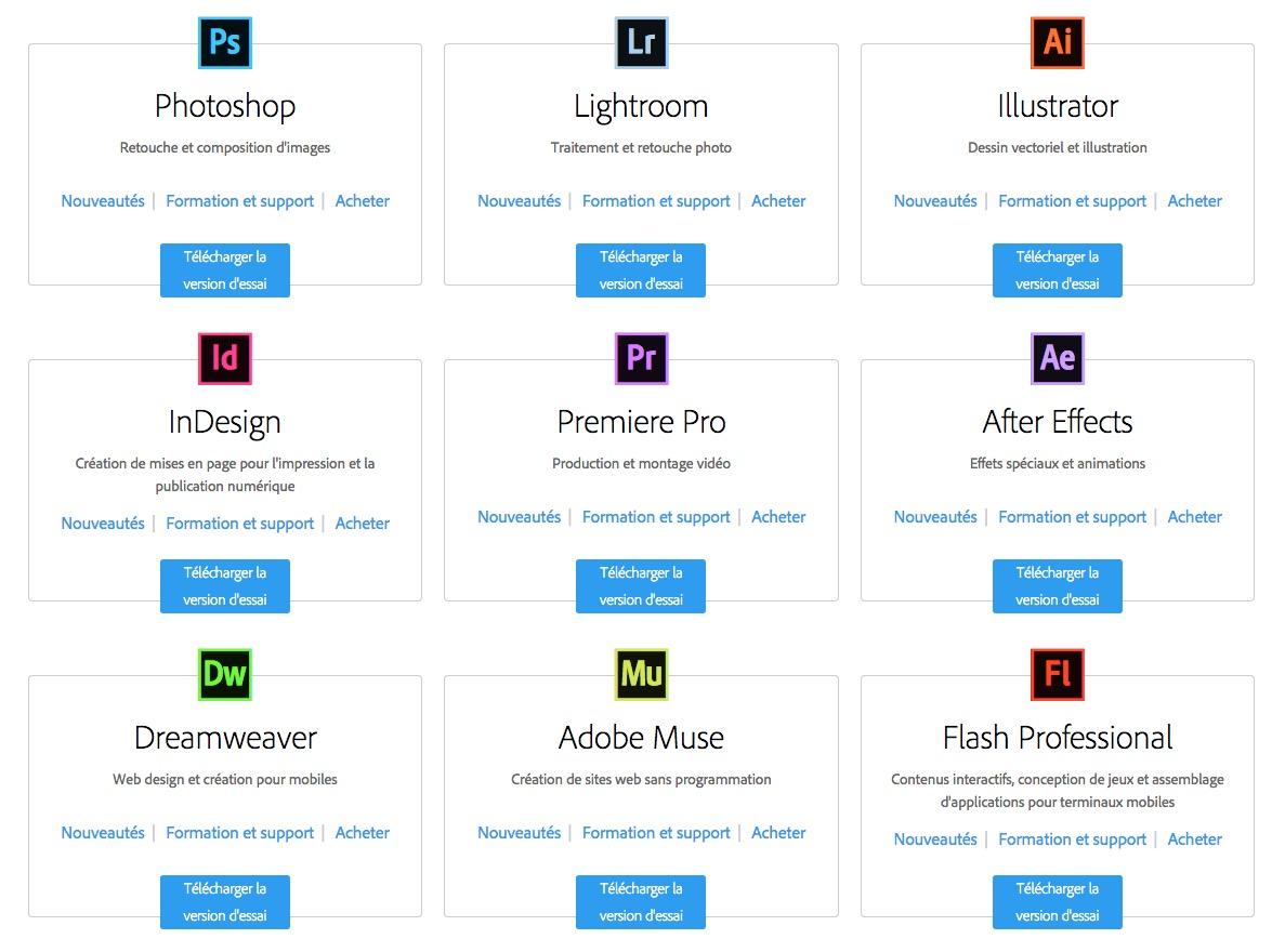 Adobe remet à zéro les versions d'essai des logiciels du Creative Cloud
