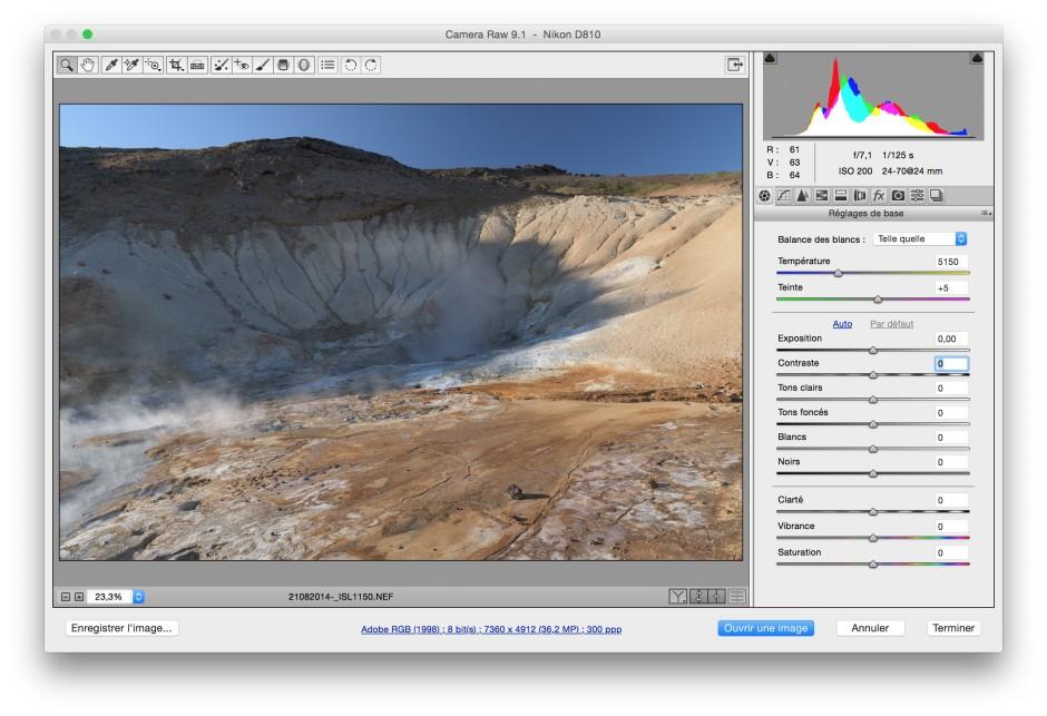 Dématriçage Camera RAW dans Photoshop