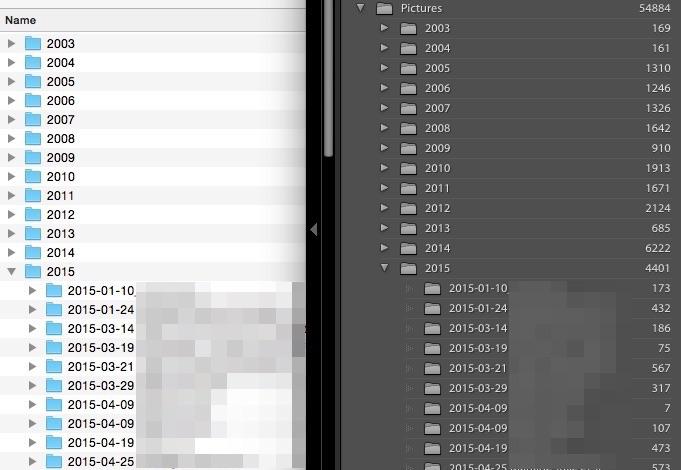 L'explorateur de fichier Mac à gauche, Lightroom à droite