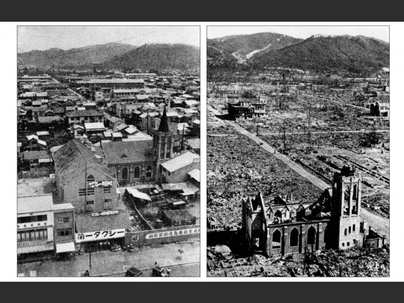Un montage montrant Hiroshima avant et après le bombardement en 1945 - ©AFP