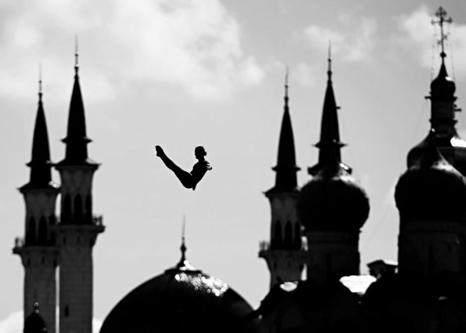 L'épreuve éliminatoire de plongeon de haut-vol masculin (27 m), le 3 août (AFP / Roman Kruchinin)