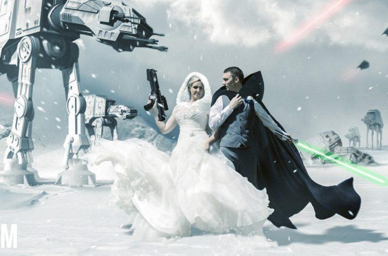 12 heures de Photoshop pour cette photo de mariage Star Wars, qui dit mieux  ?