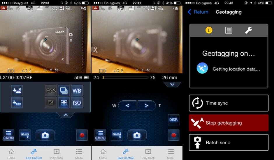Trois des écrans de l'application Lumix Image, ici sur iPhone