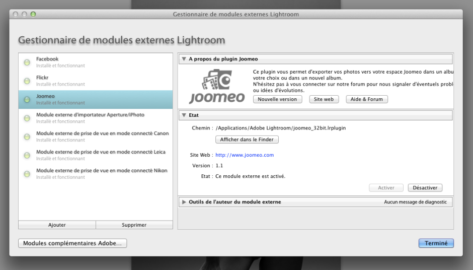 Joomeo - Module Lightroom