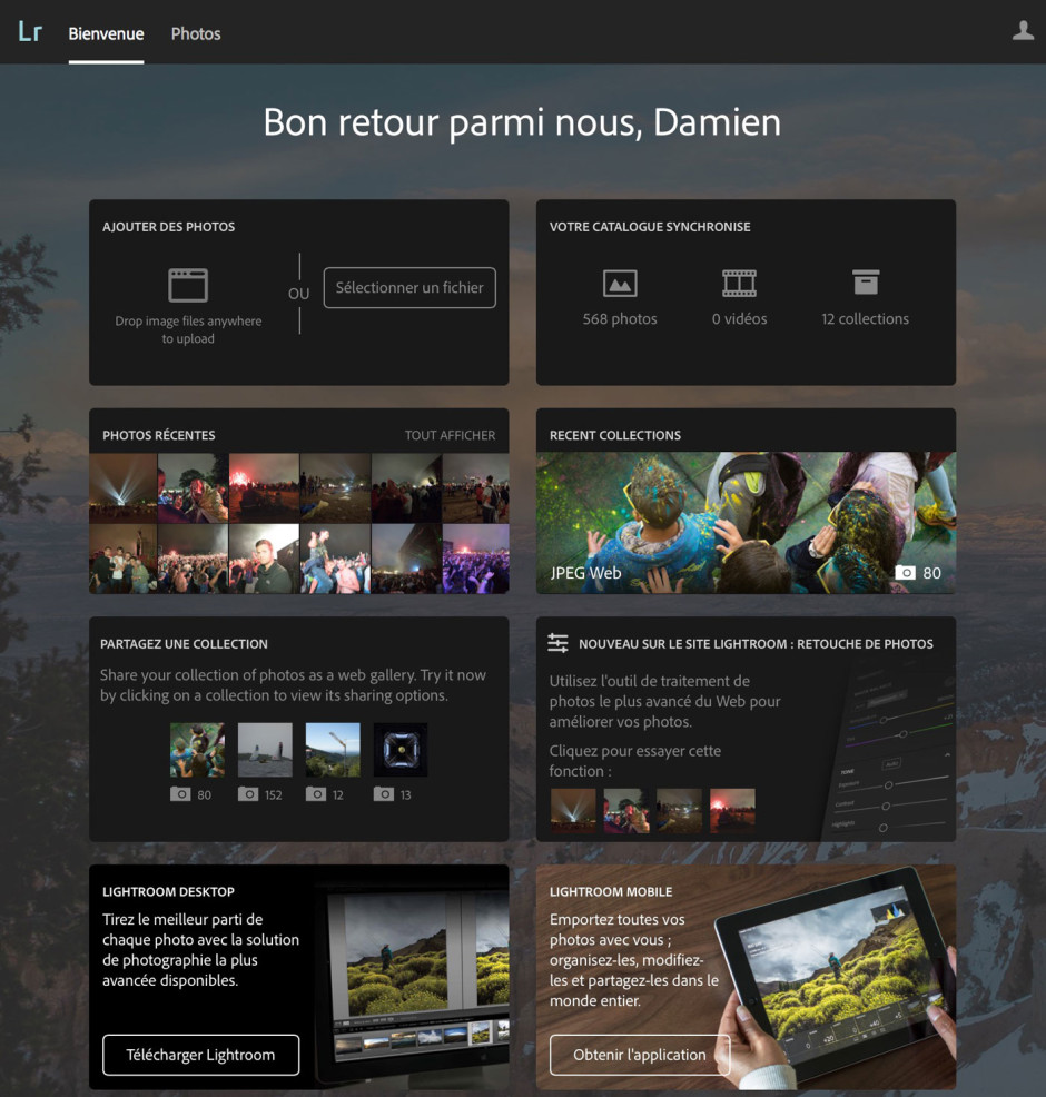 La page d'accueil de Lightroom Web