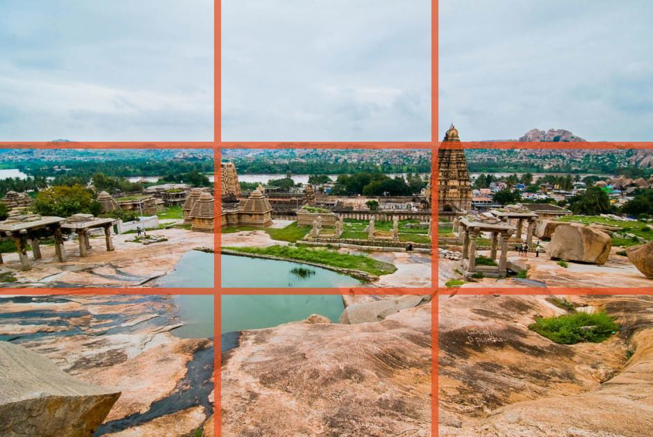 Sur cette image, les temples et l'horizon sont sur les lignes et intersections - © Damien Roué