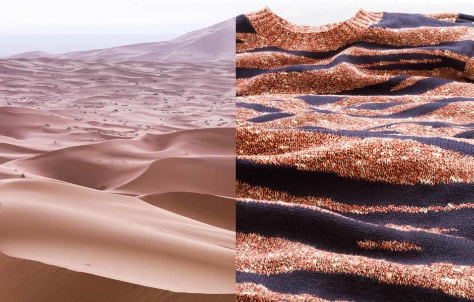 Aerial: Morocco, Merzouga Jumper: Kenzo Background shirt: APC First published in Süddeutsche Zeitung Magazin