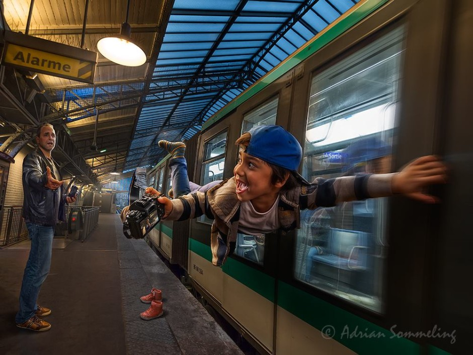 """""""Paris Metro"""" par Adrian Sommeling, son fils Nic sert de modèle, image prise pendant le séjour de Nic et Adrian à Paris pour le workshop parisien !"""