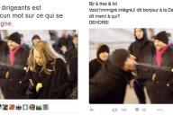 Captures d'écran de deux tweets relayant une fausse photo à propos des agressions de Cologne