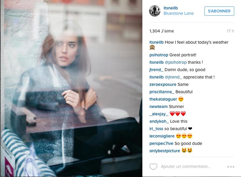 Capture d'écran de la dernière publication de @itsneilb, suivi par 59.000 followers sur Instagram