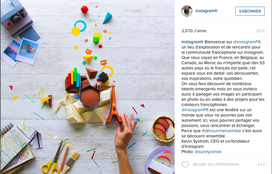 Capture d'écran de la publication de la photo d'@aurelycerise par Instagram France