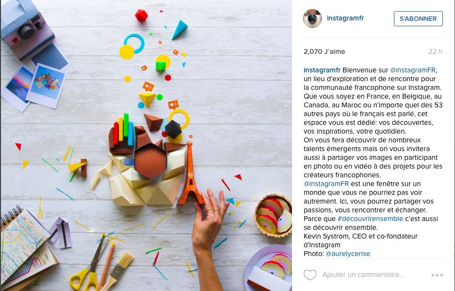 Capture d'écran de la publication de la photo d'@aurelycerise par Instagram France