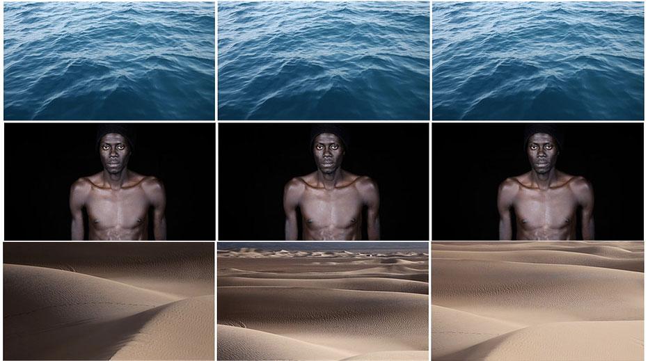 """Montage réalisé par Mégane De Amorim à partir de photos extraites des vidéos créées par Leila Alaoui pour """"Crossings"""""""