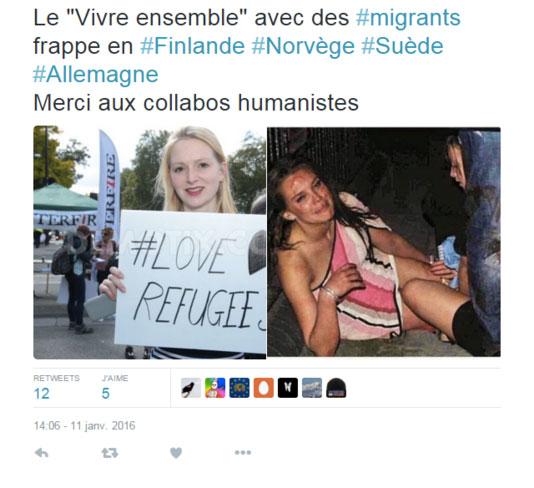 Capture d'écran d'un tweet illustré de fausses photos des évènements du 31 décembre à Cologne