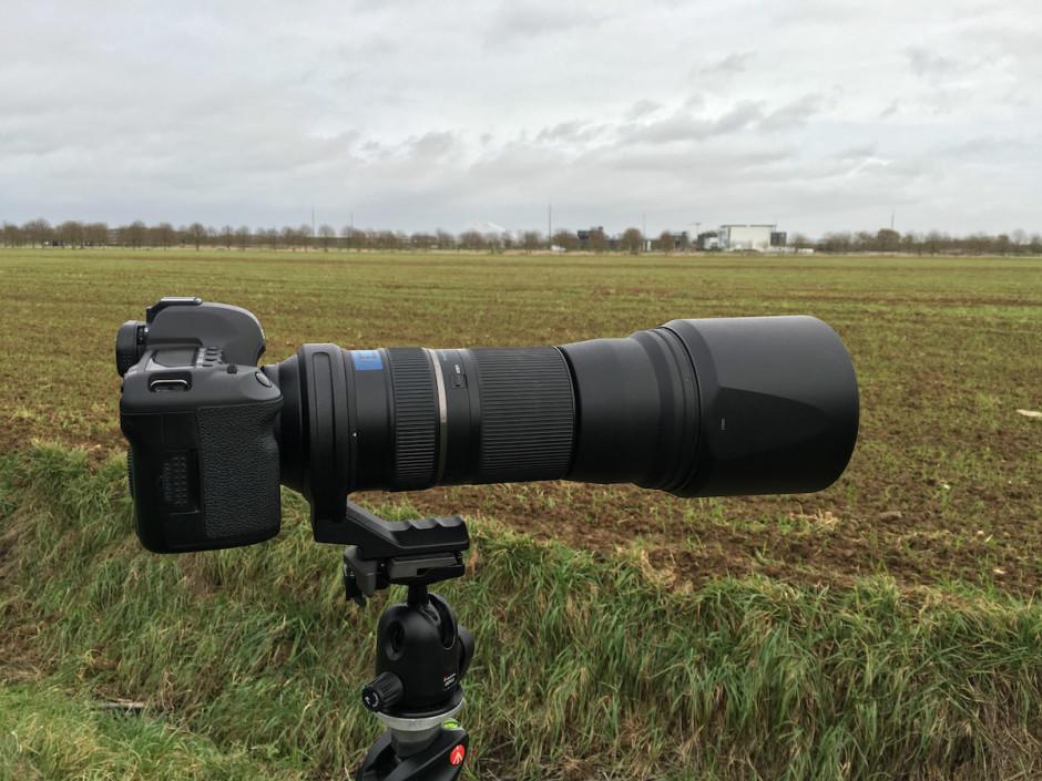 L'objectif à 150mm sur le trépied