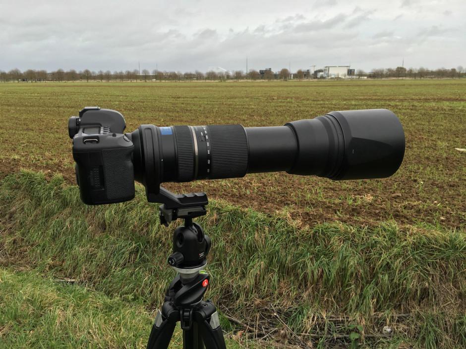 L'objectif à 600mm sur le trépied