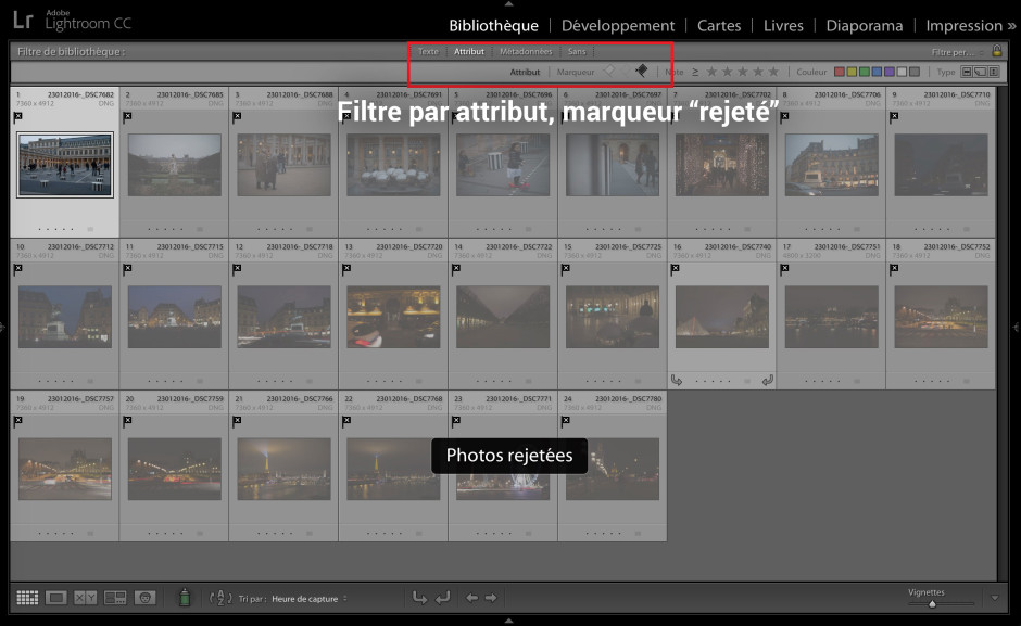 A l'aide des filtres d'attributs de la Bibliothèque dans Lightroom, il est possible de filtrer toutes les photos rejetées