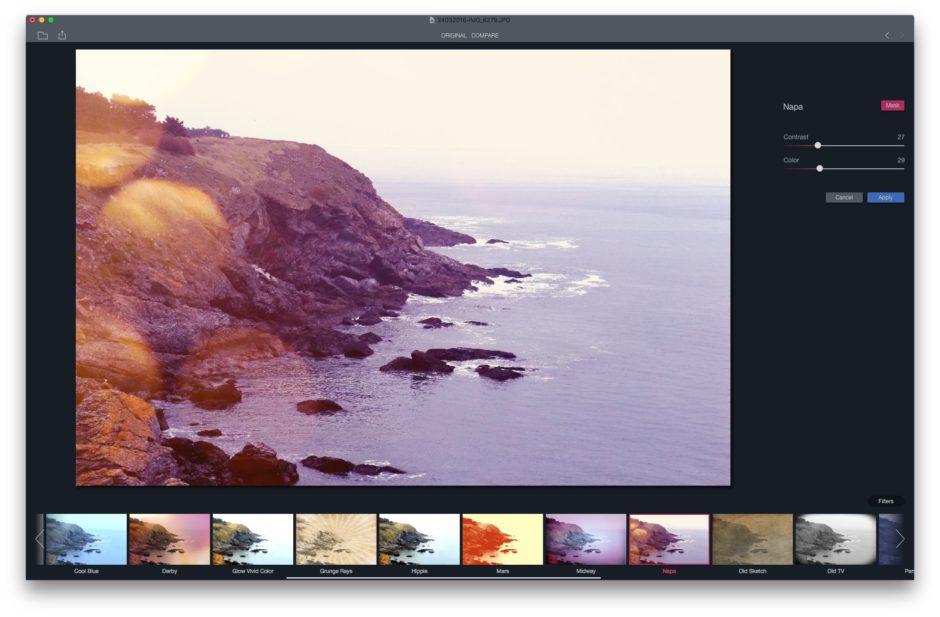 Filtre photo logiciel
