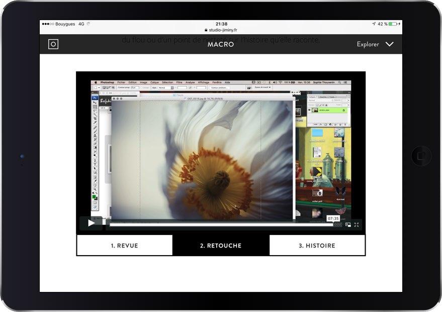 La masterclass consultée depuis un iPad