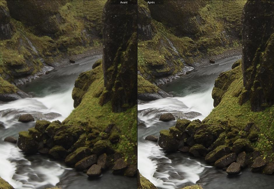 A gauche, l'image issue du RAW / A droite, l'image accentuée