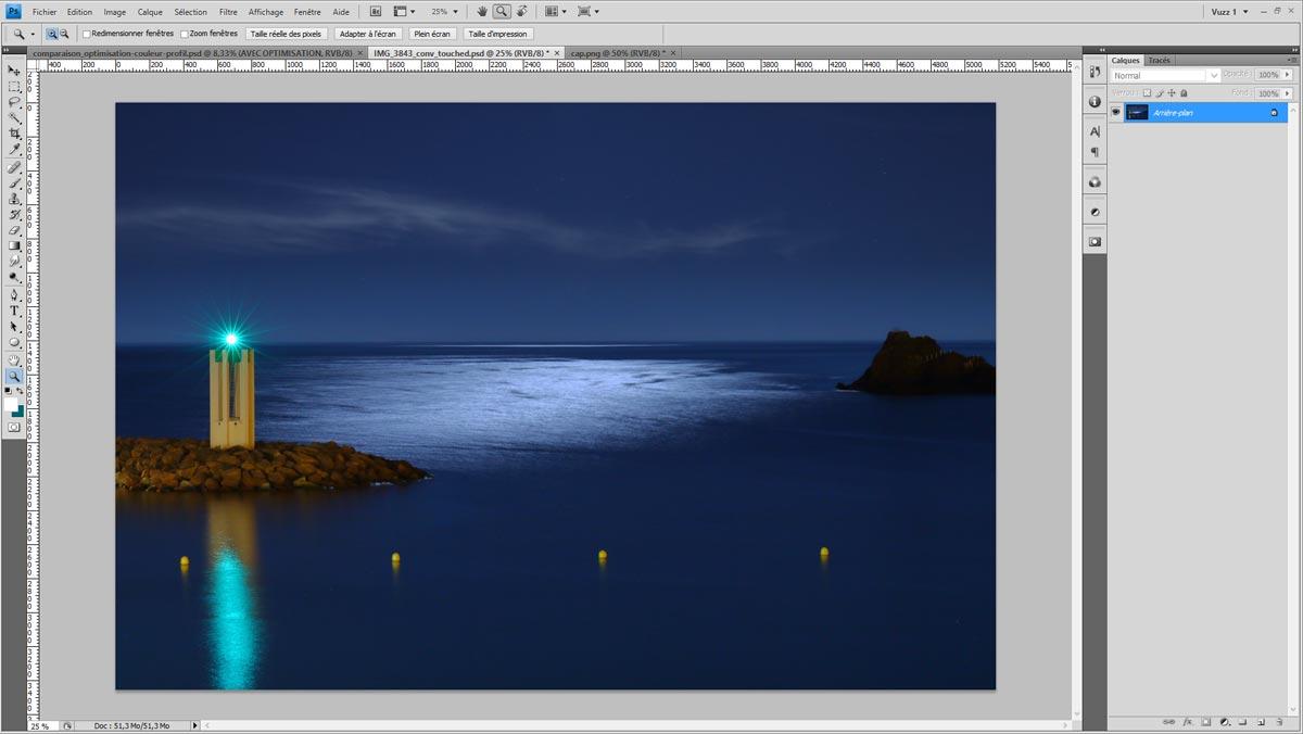 Test d'épreuvage dans Photoshop : version originale sans aperçu de l'épreuvage